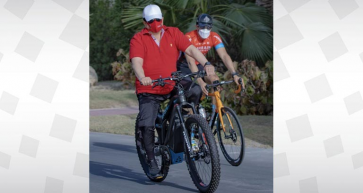 His Majesty King Hamad pictured cycling in Bahrain